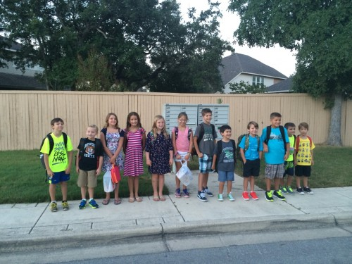 First day of school at the bus stop